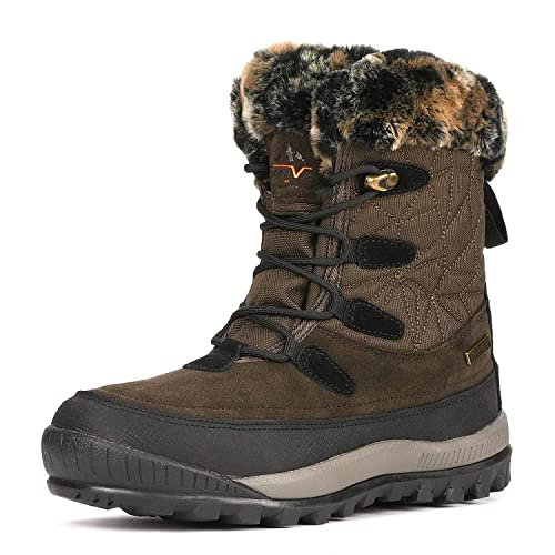 92504bec25b NORTIV 8 Women s A0052 Brown Black Insulated Waterproof Construction Hiking  Winter Snow Boots Size 5 M