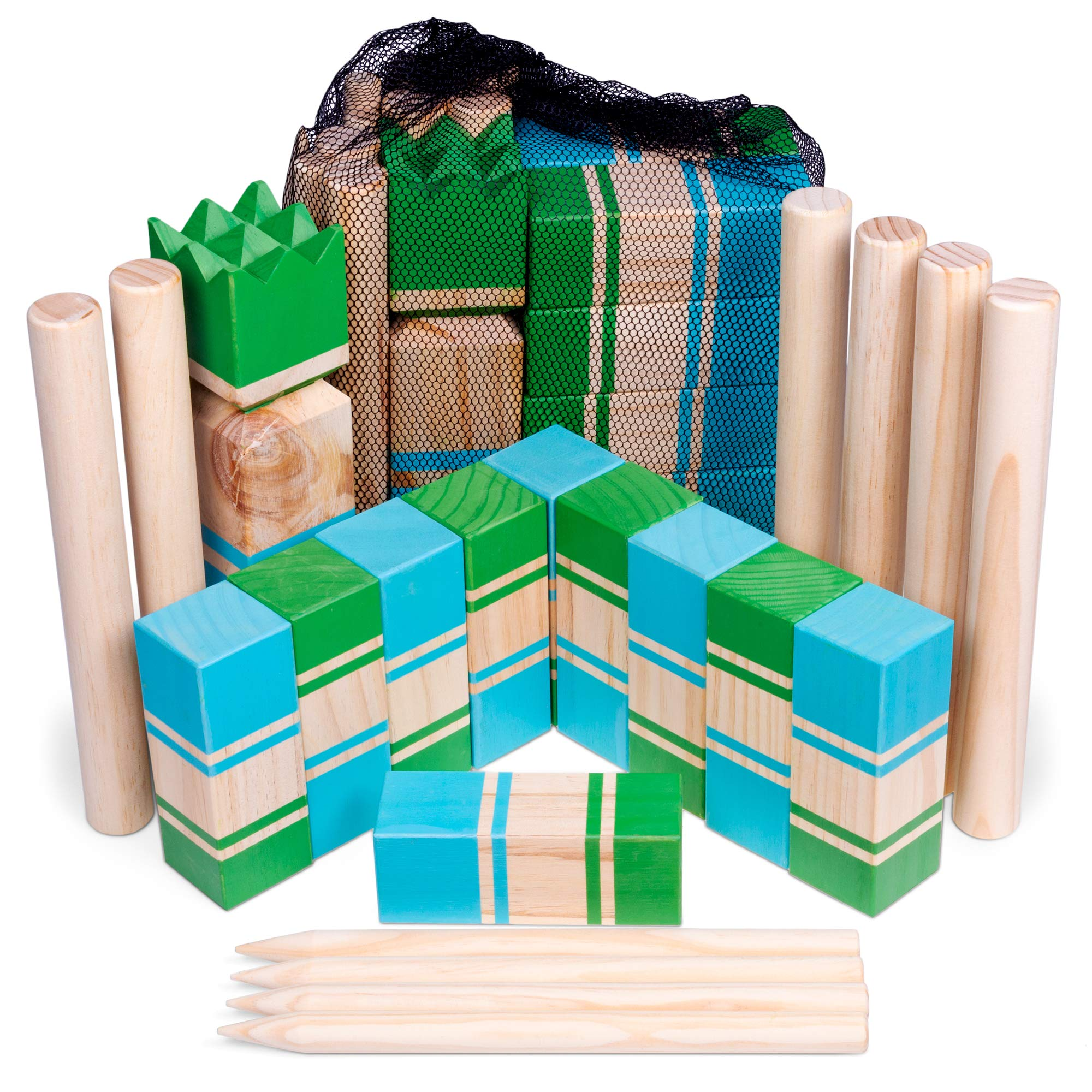 Kubb | Portable Viking Lawn Game for Adults and Kids | Unique, Traditional Family Game | Premium Wooden Tossing Game Set for Outdoor Parties, Cookouts, Yard Activities | Includes Free Mesh Carry Bag by Brybelly