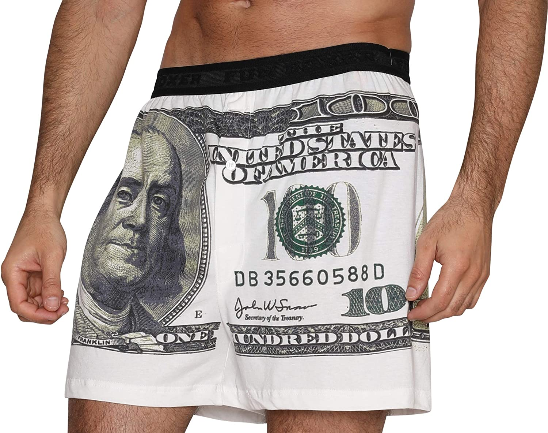 Fun Boxers Green Benjamins Mens Boxer Shorts