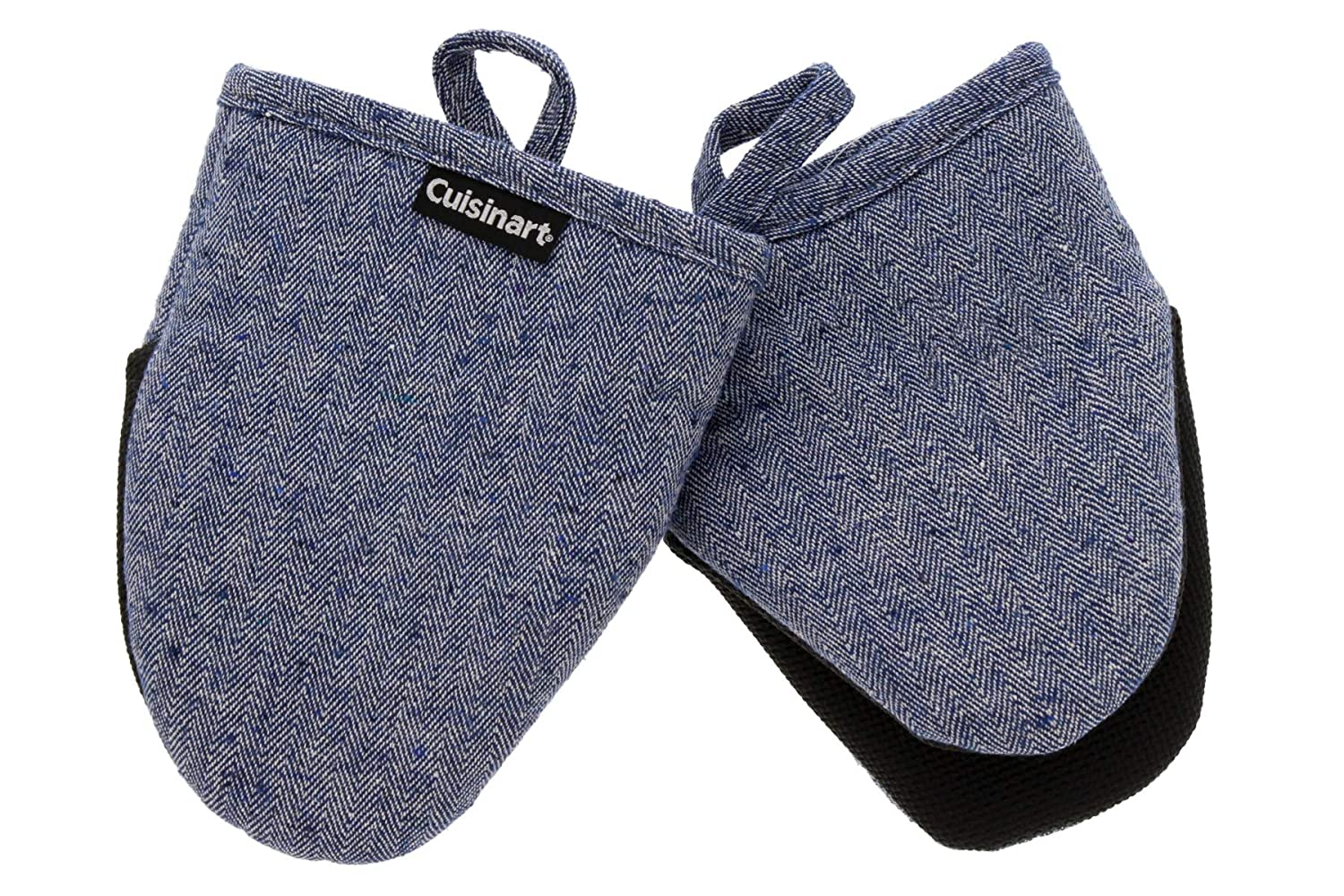 Cuisinart Oven Mitts, 2pk - Heat Resistant Oven Gloves to Protect Hands and Surfaces with Non-Slip Grip and Hanging Loop - Ideal Set for Handling Hot Cookware, Bakeware – Chevron, Blue