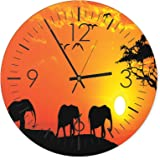 Feeby, Wall Clock, Multi-colour, Deco Panel Picture with Clock, Wall Deco, diameter 40 cm, ELEPHANTS, ANIMALS, SUNSET, NATURE, ORANGE, BLACK