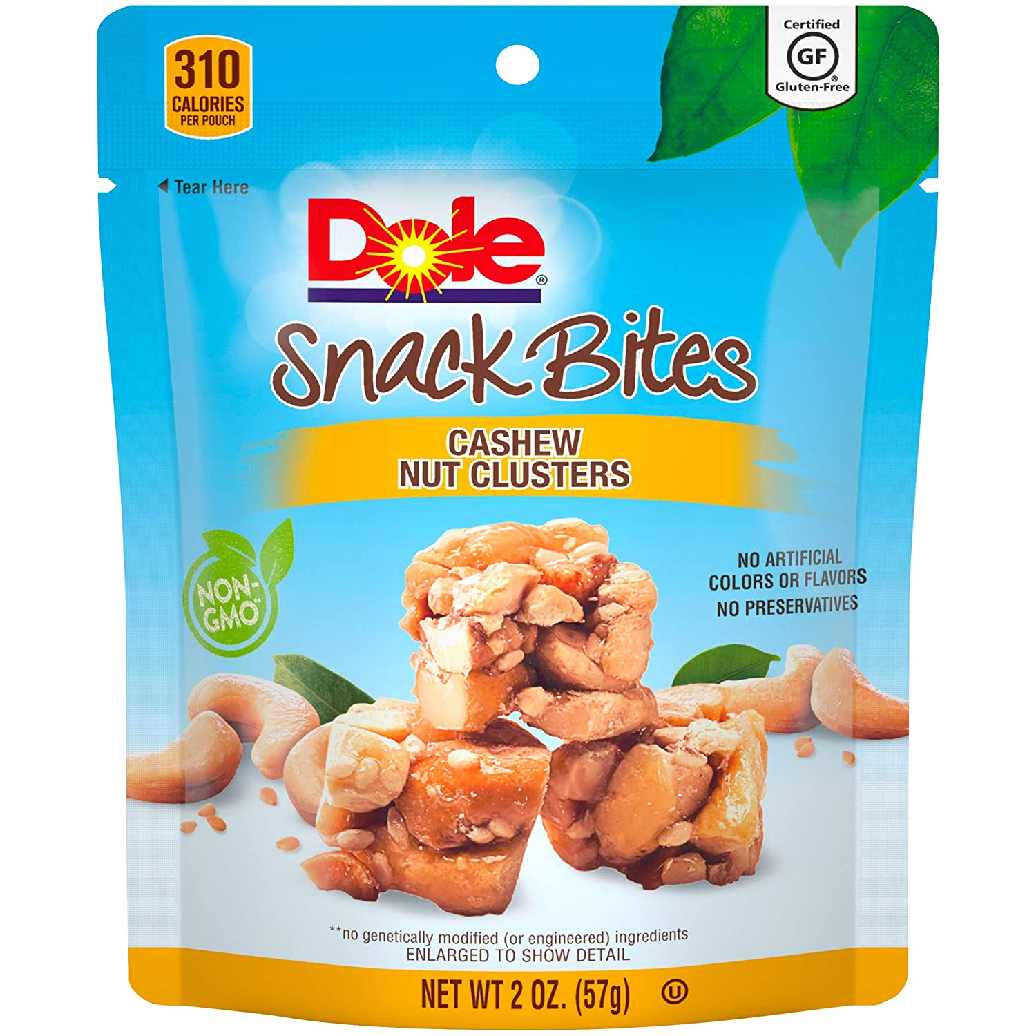 DOLE SNACK BITES Cashew Clusters, 2 Ounce, Pack of 12