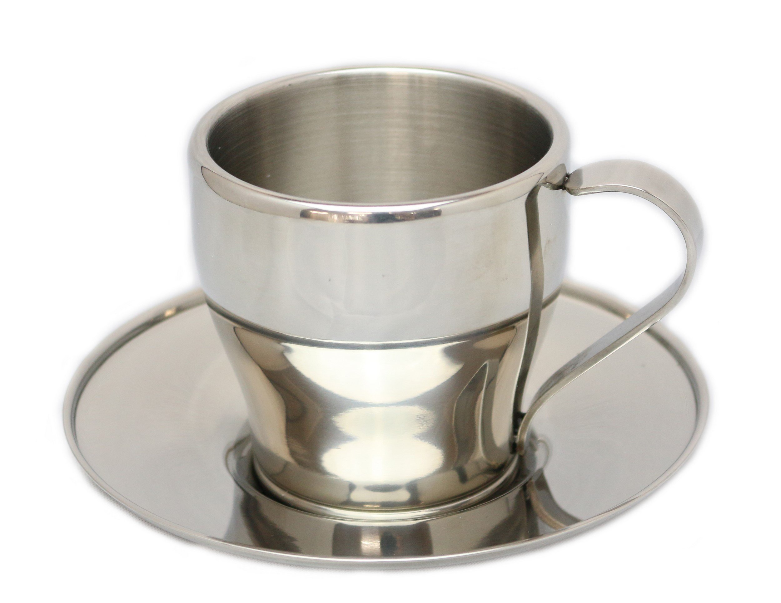Pearl Argo double stainless coffee cup and saucer 160ml MK-4137 (japan import)