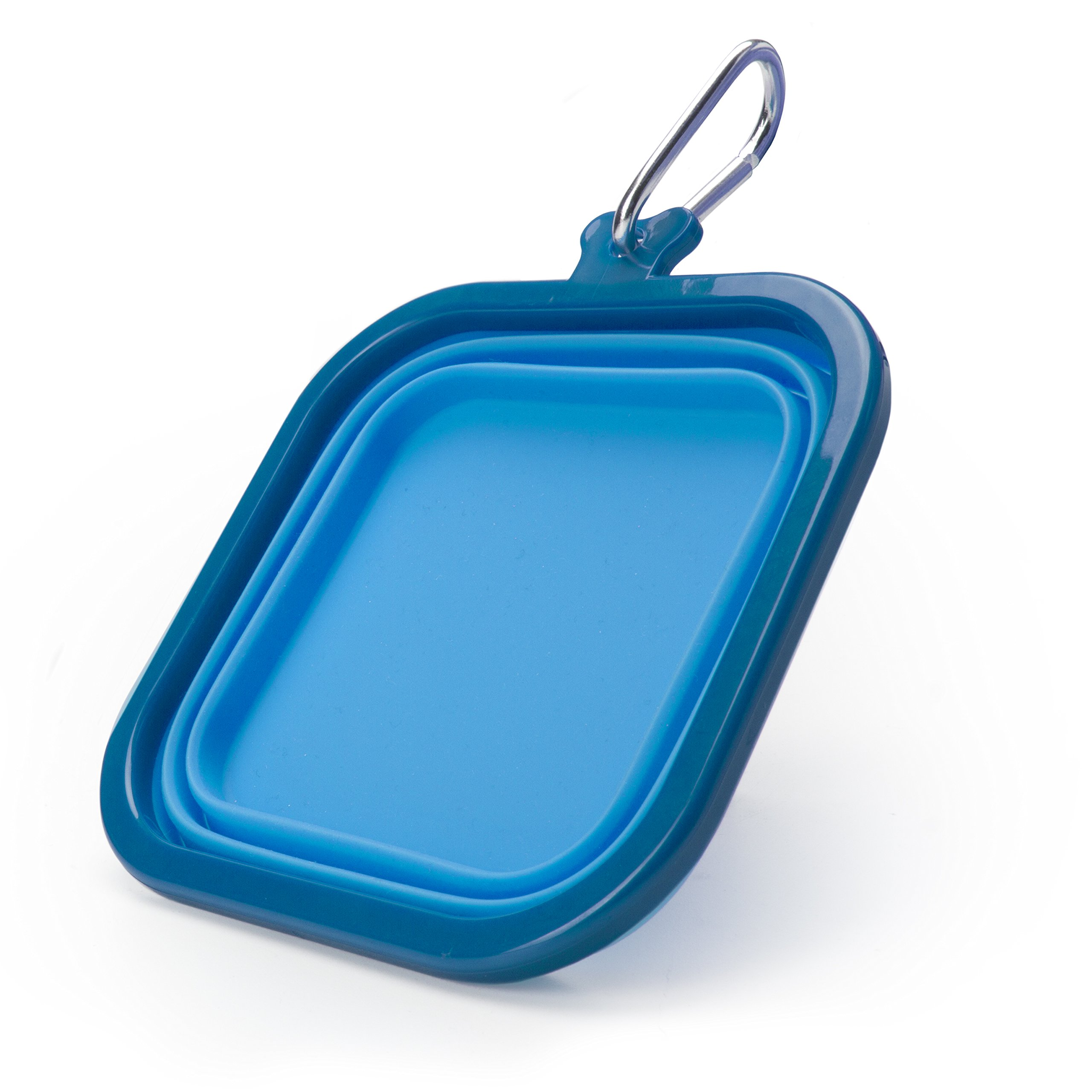 Real Simple Pet Collapsible Travel Dog Cat Bowl Square Shape with Carabiner Clip - 32oz Blue