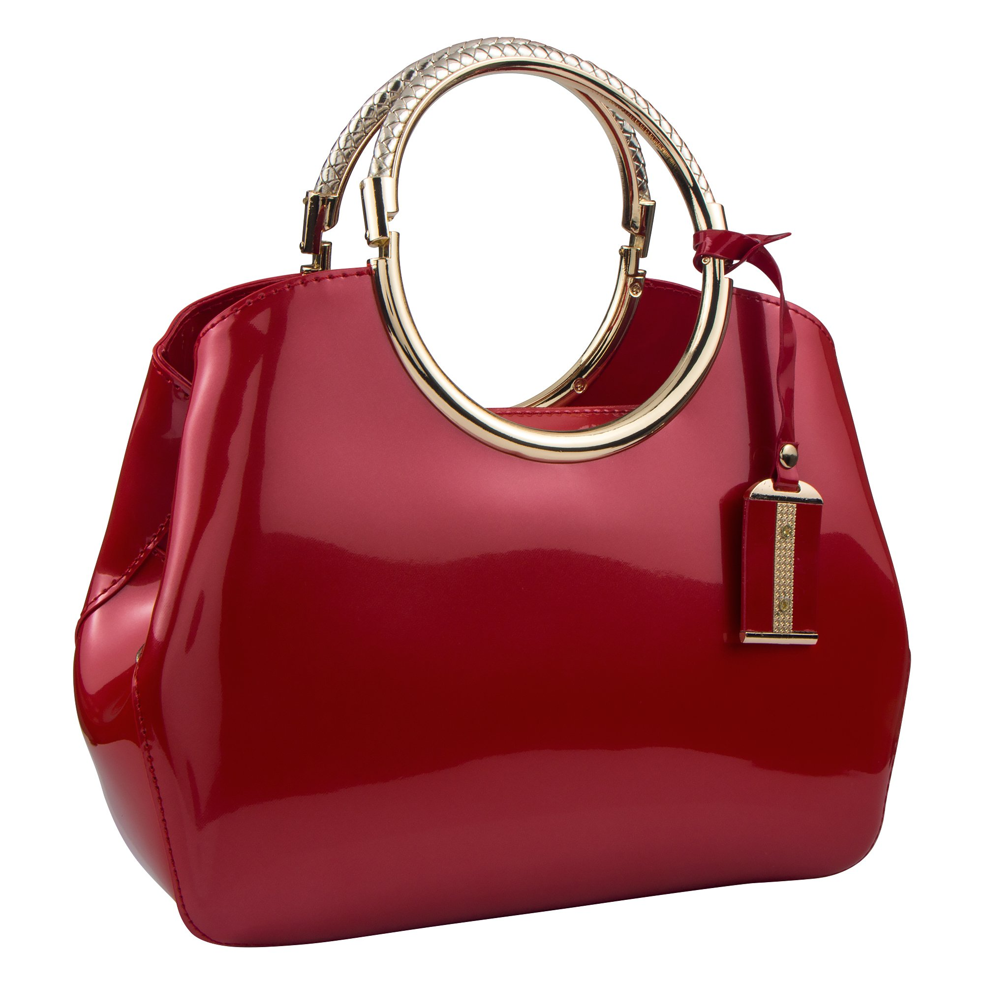 Bagood Women's Evening Bags Patent Leather Glossy Handbag Clutches Purses Shoulder Bag for Wedding Prom Party Red