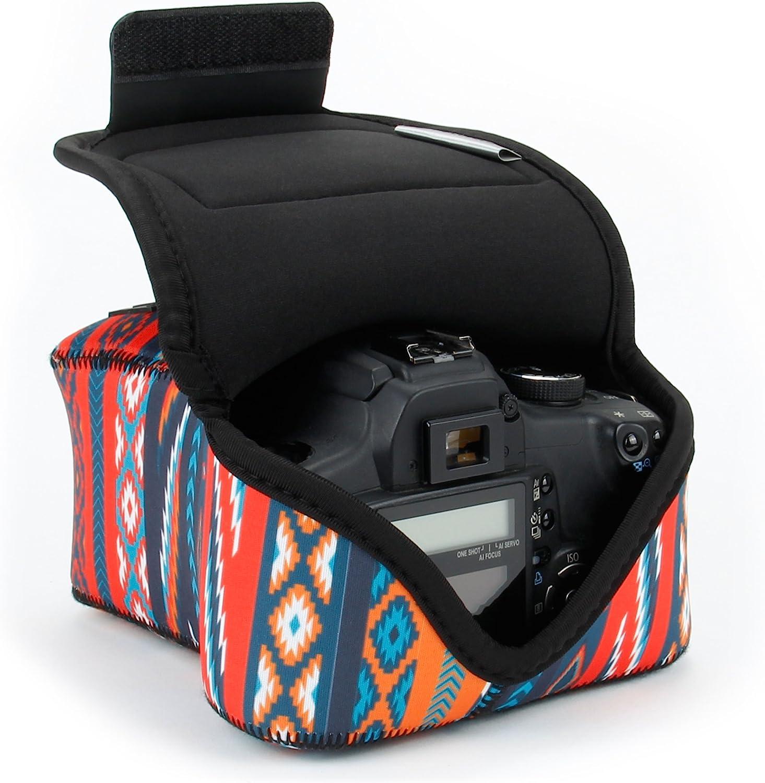 USA Gear Funda para Cámara DSLR con Protección de Neopreno, Presilla para Cinturón y Almacenamiento de Accesorios - Compatible con Nikon D3400, Canon EOS Rebel SL2, Pentax K-70 y más - Azteca