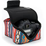DSLR Camera Case / SLR Camera Sleeve (Southwest) with Neoprene Protection , Holster Belt Loop & Accessory Storage by USA Gear - Works With Nikon D3400 / Canon EOS Rebel SL2 / Pentax K-70 & Many More