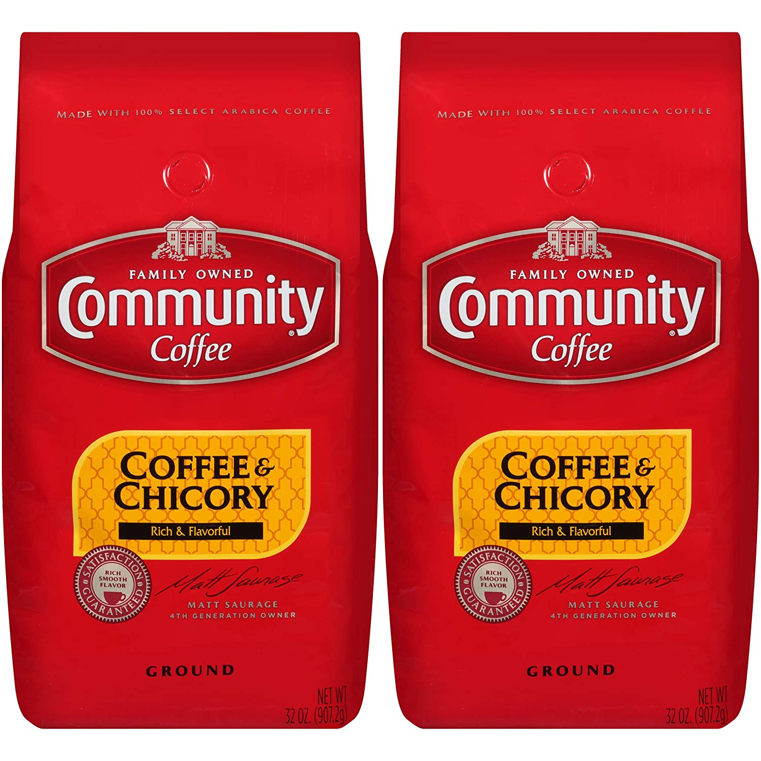 Community Coffee and Chicory Medium Dark Roast Premium Ground 32 Oz Bag (2 Pack), Full Body Rich Flavorful Taste, 100% Select Arabica Beans