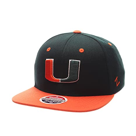 sale retailer 75da3 ab4a5 Image Unavailable. Image not available for. Color  Zephyr Miami Hurricanes  2-Tone Z11 Adjustable Snapback Cap - NCAA Flat Bill Baseball Hat