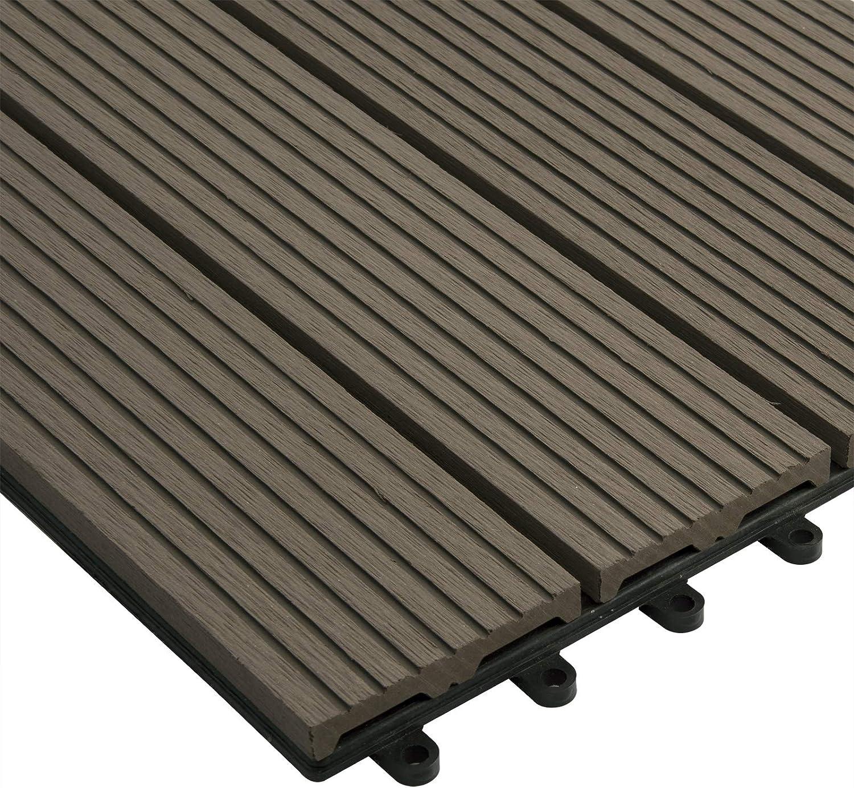 EUGAD 0016DB-2 Dalle terrasse 30x60cm pour jardin balcon Protection sol Fixation clipable 12 pi/èces Anthracite