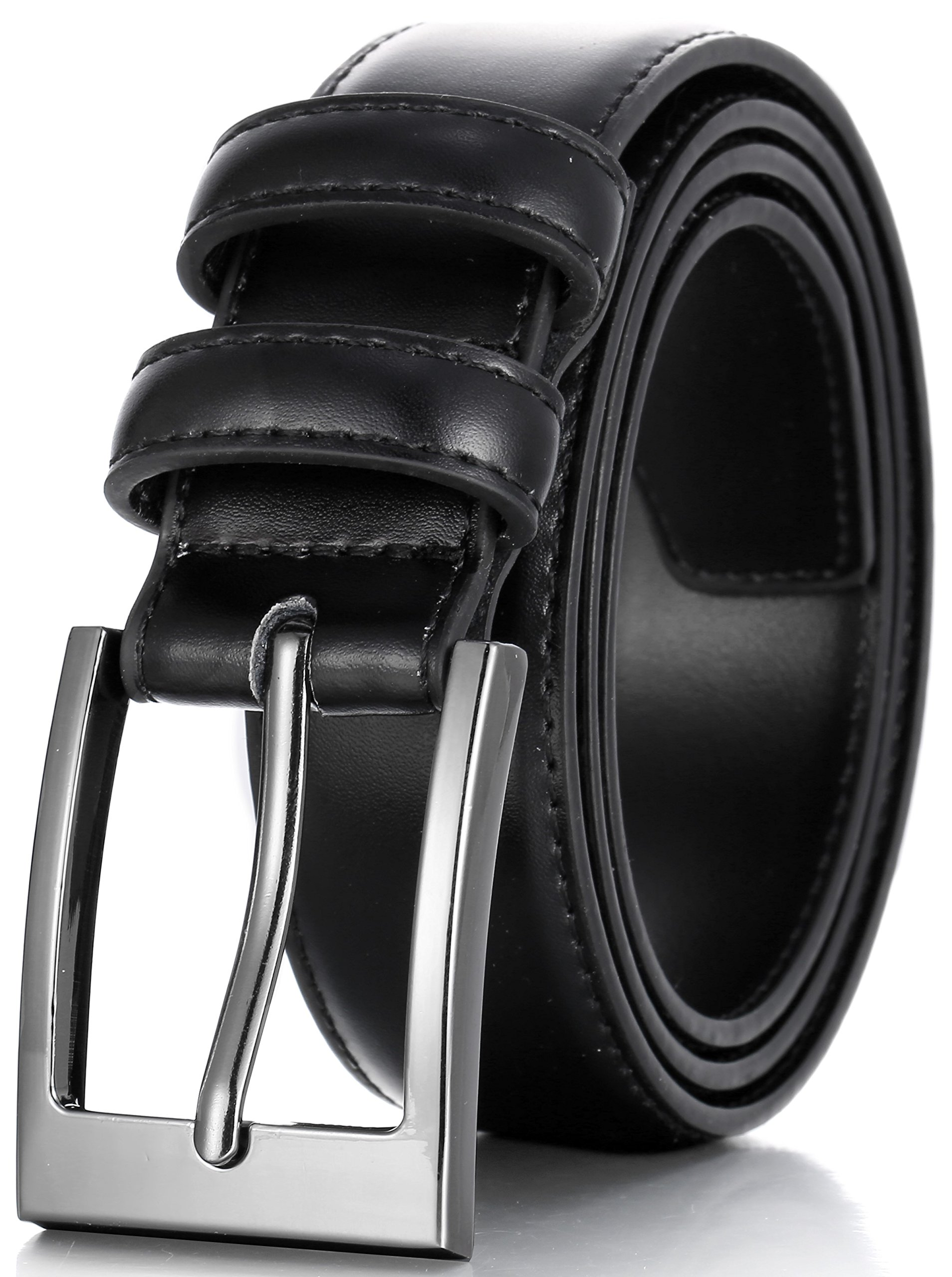 Marino's Men Genuine Leather Dress Belt with Single Prong Buckle - Black - 36