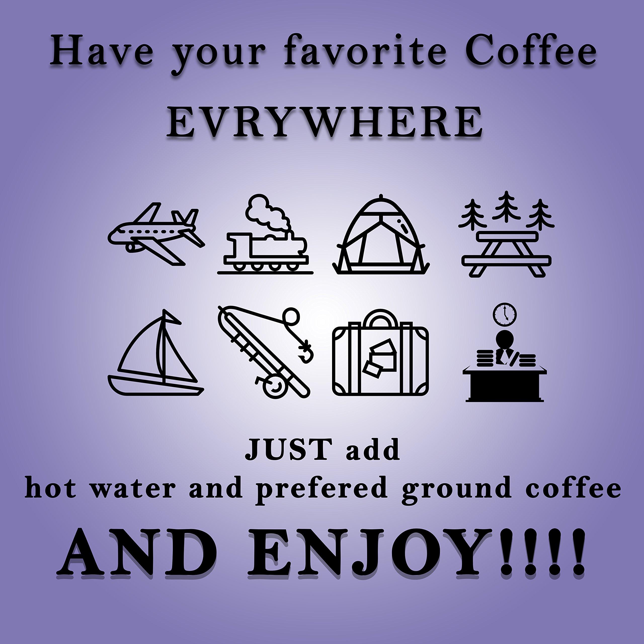 ☕️ Mini Espresso Maker + BONUS! ☕️ Portable Black Compact Manual Coffee Maker, Hand Operated Non-Electric Machine for ESPRESSO ☕️. BONUSES Container for ground coffee ☕️ & Elegant Carry Bag by NH-Kitchen (Image #2)