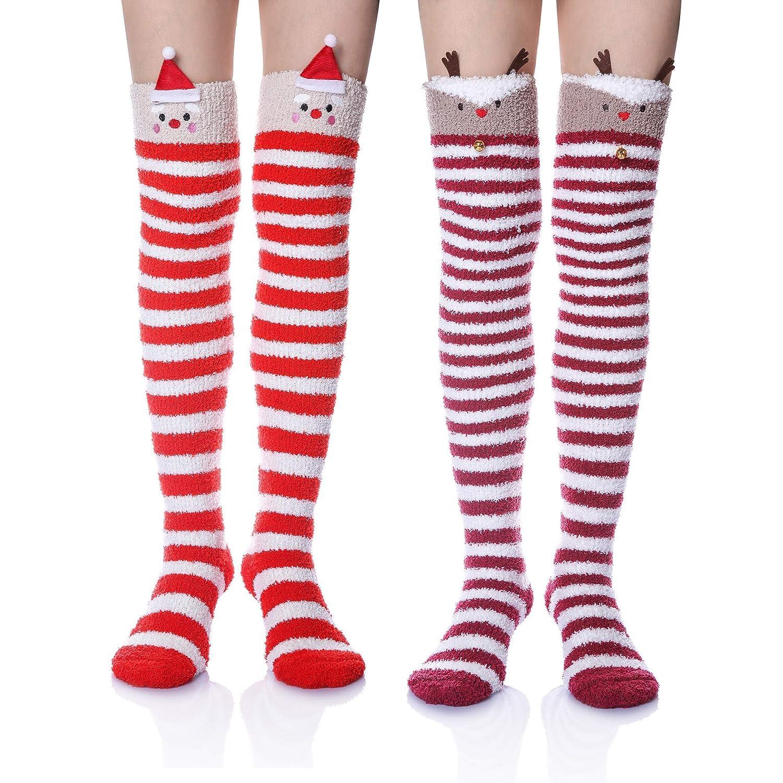 2 Pair Red Hat Deer Wander G Womens Over Knee High Fuzzy Socks Cute Cartoon Thigh High Stockings Warm Stripe Leg Warmers