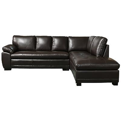 Abbyson Elizabeth CI N680 Brn Leather Sectional