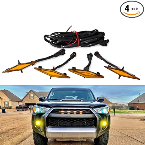 Amazon.com: 4 luces LED ámbar para parrilla para Toyota ...