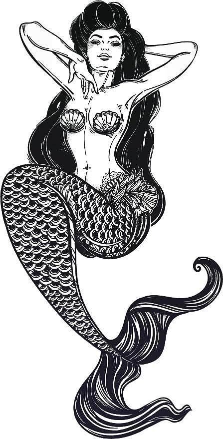 Amazon Com Sexy Vintage Pin Up Mermaid Cartoon Black And White
