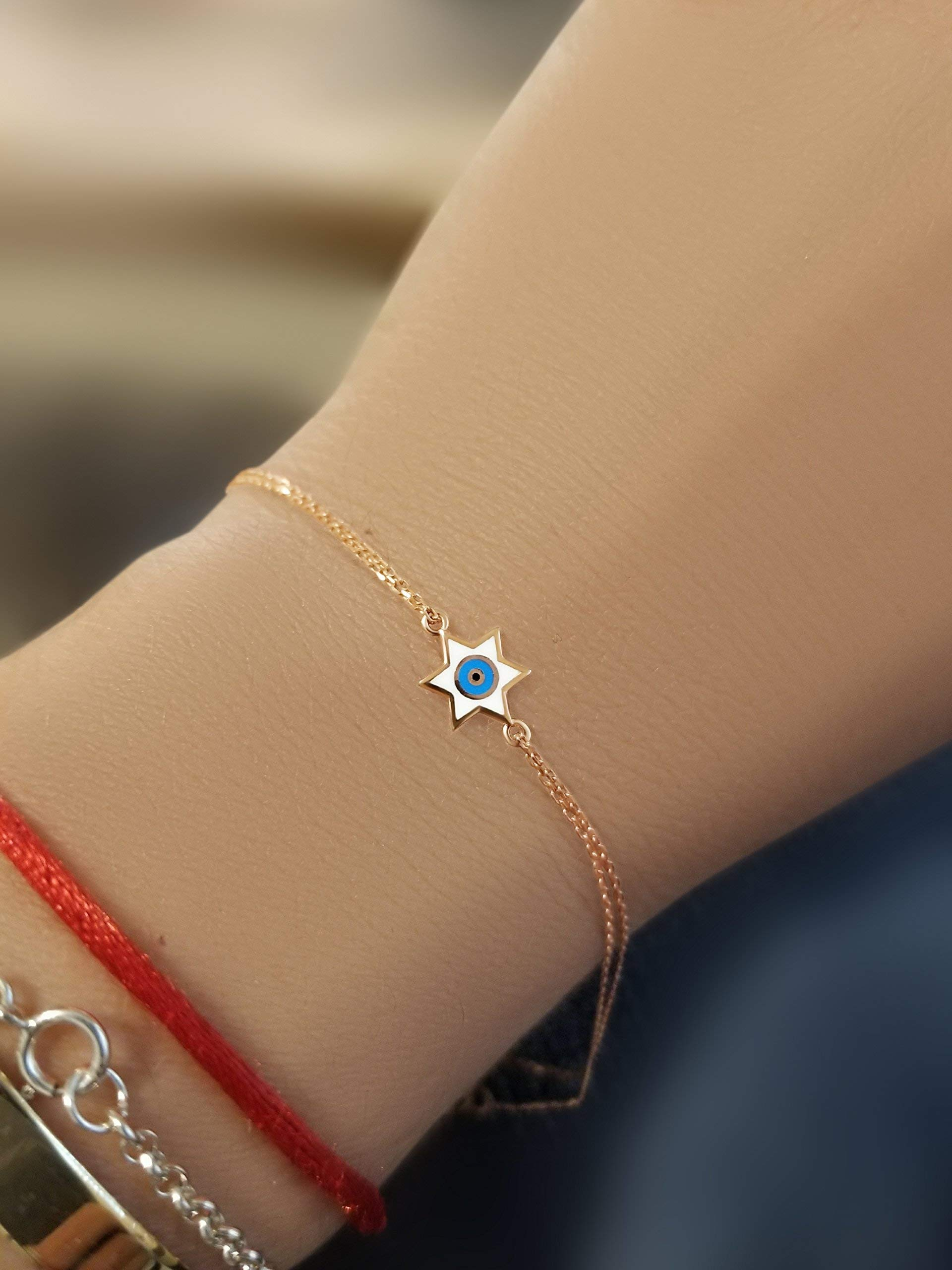 Jewish Star and Evil Eye Bracelet in Rose Gold To Guide You + Add Style + Beauty | Alef Bet Jewelry