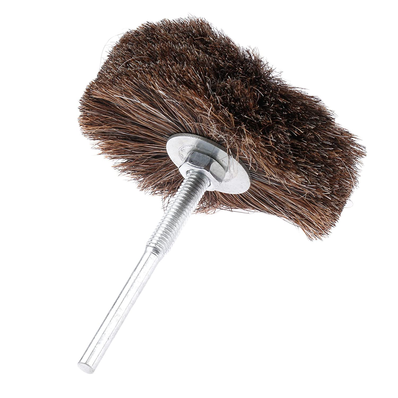 1Pc 80mm Dia 6mm Shank Wooden Hub Horse Hair Wheel Brush Jewelry Polishing Tool