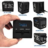 Ceptics All-In-One International Travel Plug Adapter with Dual USB Ports (UP-9KU) - Great for iPhone/Smartphones/Laptops & more