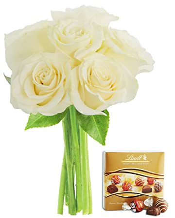 KaBloom Bouquet of 6 Fresh Cut White Roses (Long Stemmed) without Vase and One