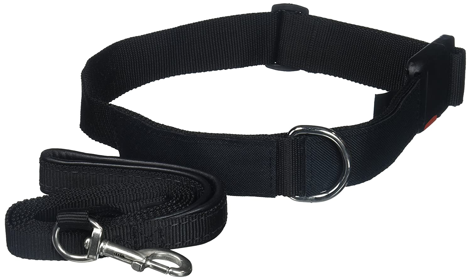 Dean & Tyler PTSD Dog 26 by 37-Inch Patch Collar with 6-Feet Stainless Steel Snap Padded Puppy Leash, Large, Black