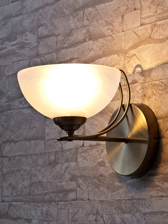 Edle Wandleuchte in Bronze Jugendstil inkl. 1x 3W E14 LED 230V Wandlampe aus Metall & Alabasterglas für Esszimmer Schlafzimmer Flur Lampen Leuchte Beleuchtung