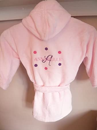 kids dressing gown personalised - (4-5 years, Pink - with dots ...