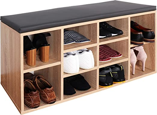 Ricoo Wm033 Es A Shoe Rack 104x49x30 Cm Bench For Wardrobe Cabinet Storage Box Stand Shelf Sonoma Oak Wood Effect Grey Seat Cushion Amazon Co Uk Kitchen Home