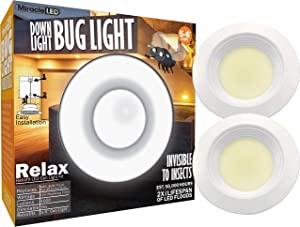 "Miracle LED 602053 5-6"" Bug Soffit Light 2-Pack Replacing 100W/R40/Br40/Par 40 Floods/Spots, Sunset Glow"