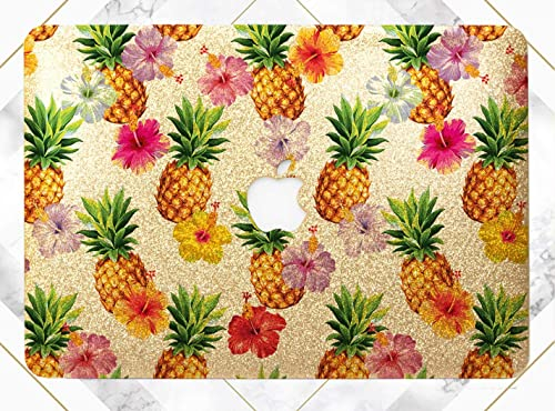 Floral Watercolor Pineapples Gold Rose Gold Hard Plastic Glitter Case Cover For Apple Macbook Air 11 13 Macbook 12 Macbook Pro 13 15 Inch 2016 2017 With Retina Display Touch Bar