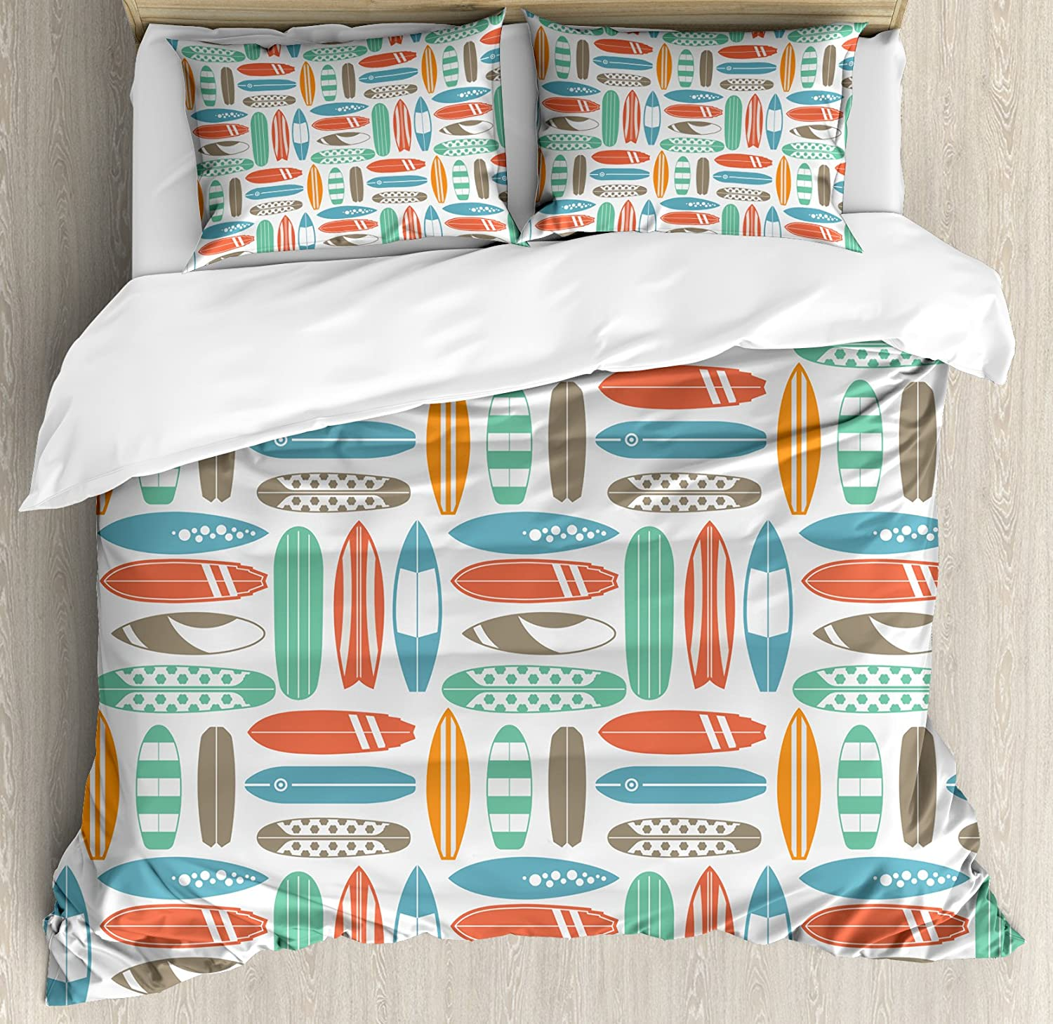 Ambesonne Surfboard Duvet Cover Set, Colorful Surfing Sea Pattern with Summer Travel Illustration in Retro Colors, Decorative 3 Piece Bedding Set with 2 Pillow Shams, Queen Size, Coral Orange