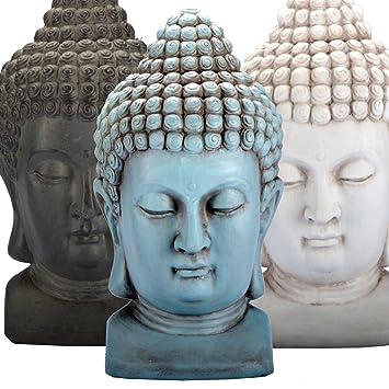 Buddha KOPF Figur Dekoration Innendekoration Feng Shui Stein Deko (Weiß)