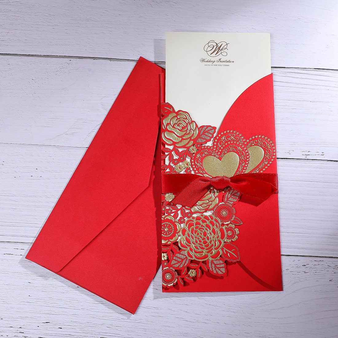 H&D 20PCS Red Invitation Cards Sets for Wedding Party Decor Free ...