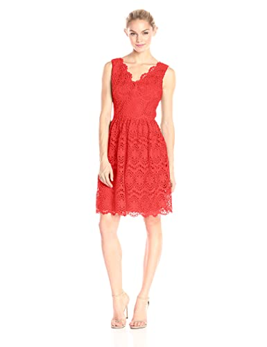Adrianna Papell Women's V-Neck Sleeveless Fit-and-Flare Dress