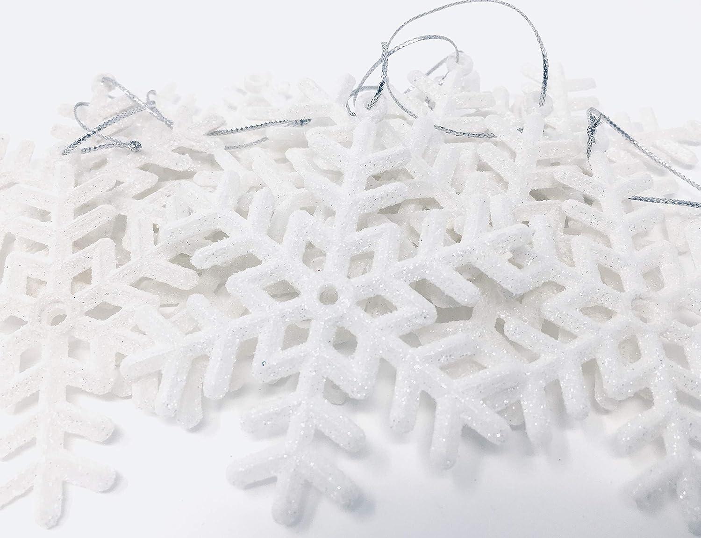 YLAB - 12 Decorazioni dell'albero di Natale con Fiocchi di Neve, Glitter Bianco You Love a Bargain