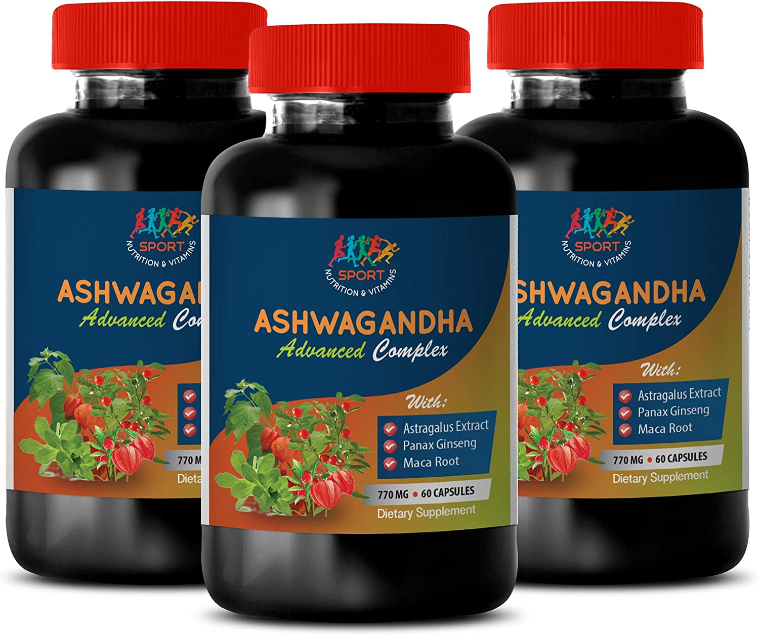 Depression Supplements Herbal - ASHWAGANDHA Advanced Complex 770 MG - Dietary Supplement - Lower Blood Sugar Levels - 3 Bottles 180 Capsules