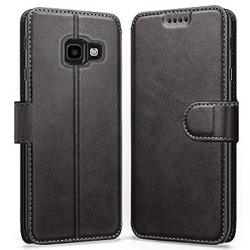 ykooe Funda Samsung J4 Plus, Funda Libro de Cuero Magnética Carcasa para Samsung Galaxy J4 Plus (Negro)