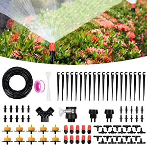 Drip Irrigation Kit, Fixget 82ft/25M Garden Irrigation System with Adjustable Automatic Irrigation Set, Distribution Tubing Hose DIY Saving Water Irrigation for Garden Greenhouse Patio Lawn