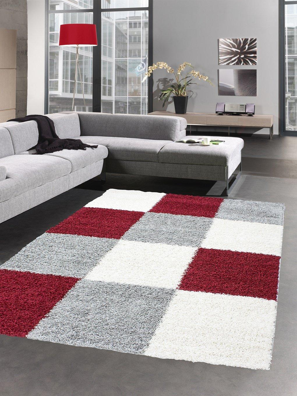 Shaggy tappeto a pelo lungo tappeti pelosi deep-pile palo moquette del salotto karo rosso grigio crema Größe 60x110 cm Carpetia