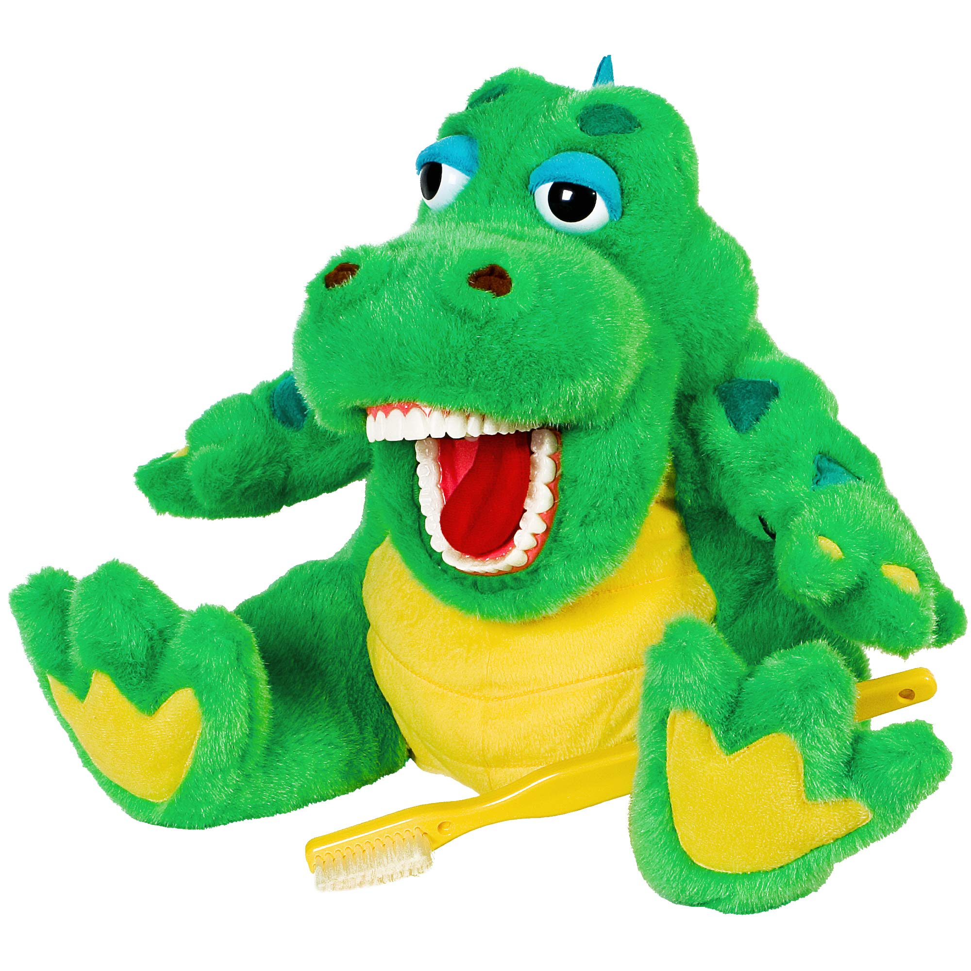 StarSmilez Kids Tooth Brushing Buddy Al E Gator - Plush Dental Education Helper Fully flossible - Present / Teach Children to Care for Mouth and Teeth