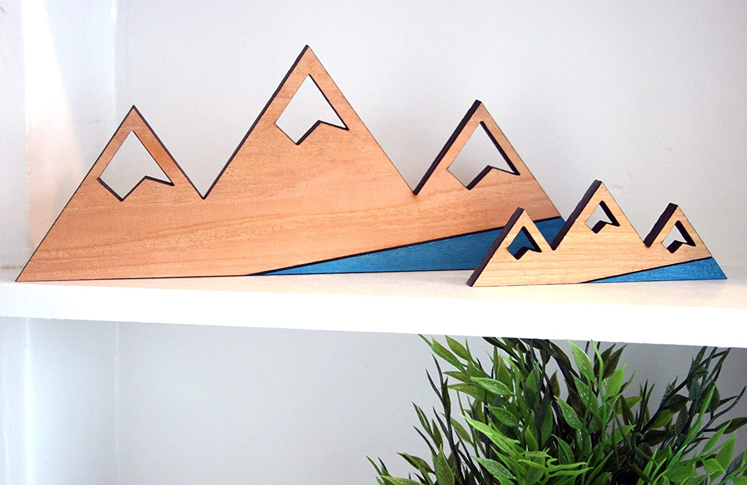 "Rustic Rough Cut Cedar Mountain Wood Cutout - 11.5"" & 6"" pair - Hang or Free Stand - Great for lake mountain cabins, airbnb, ski condo chalet, forest home, Boho, Rustic Modern styles. (Blue)"