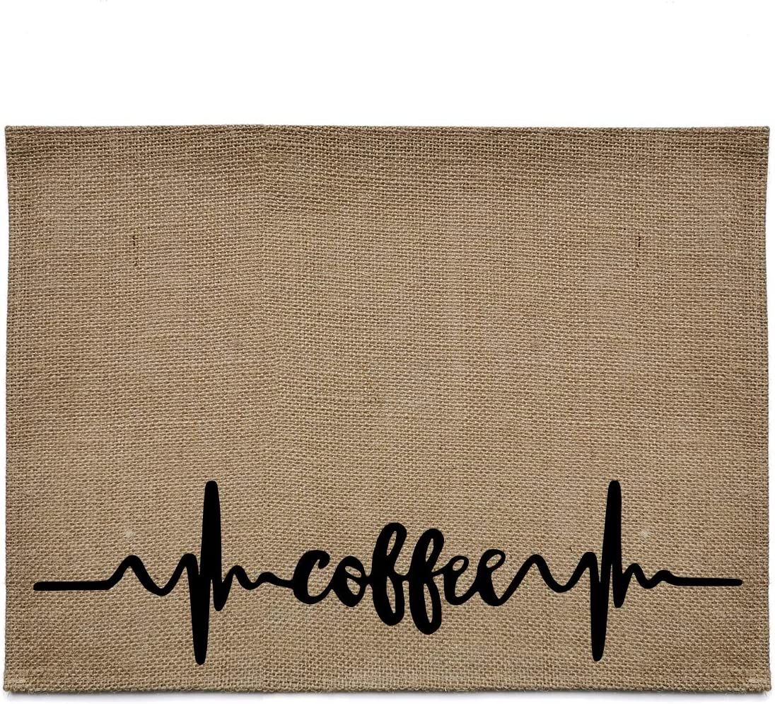 chillake Rustic Burlap Coffee Bar Mat -Coffee Theme Vintage Waterproof Placemat Easy to Clean - Natural Jute Coffee Maker Mat for Coffee Bar Home Decor Parties Daily Use(12x16 Inches)