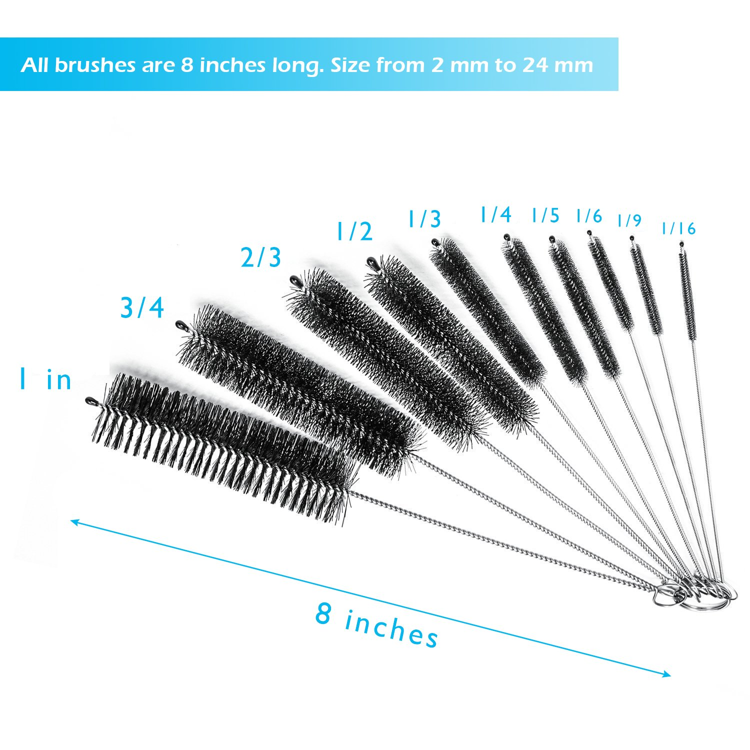Etc 10 pieces Cleaning Brush Drinking Straws Glasses Keyboards Jewelry Cleaning Versatek Tube Brush 8 Inch Nylon Brushes Set with Protective Cap for Tube