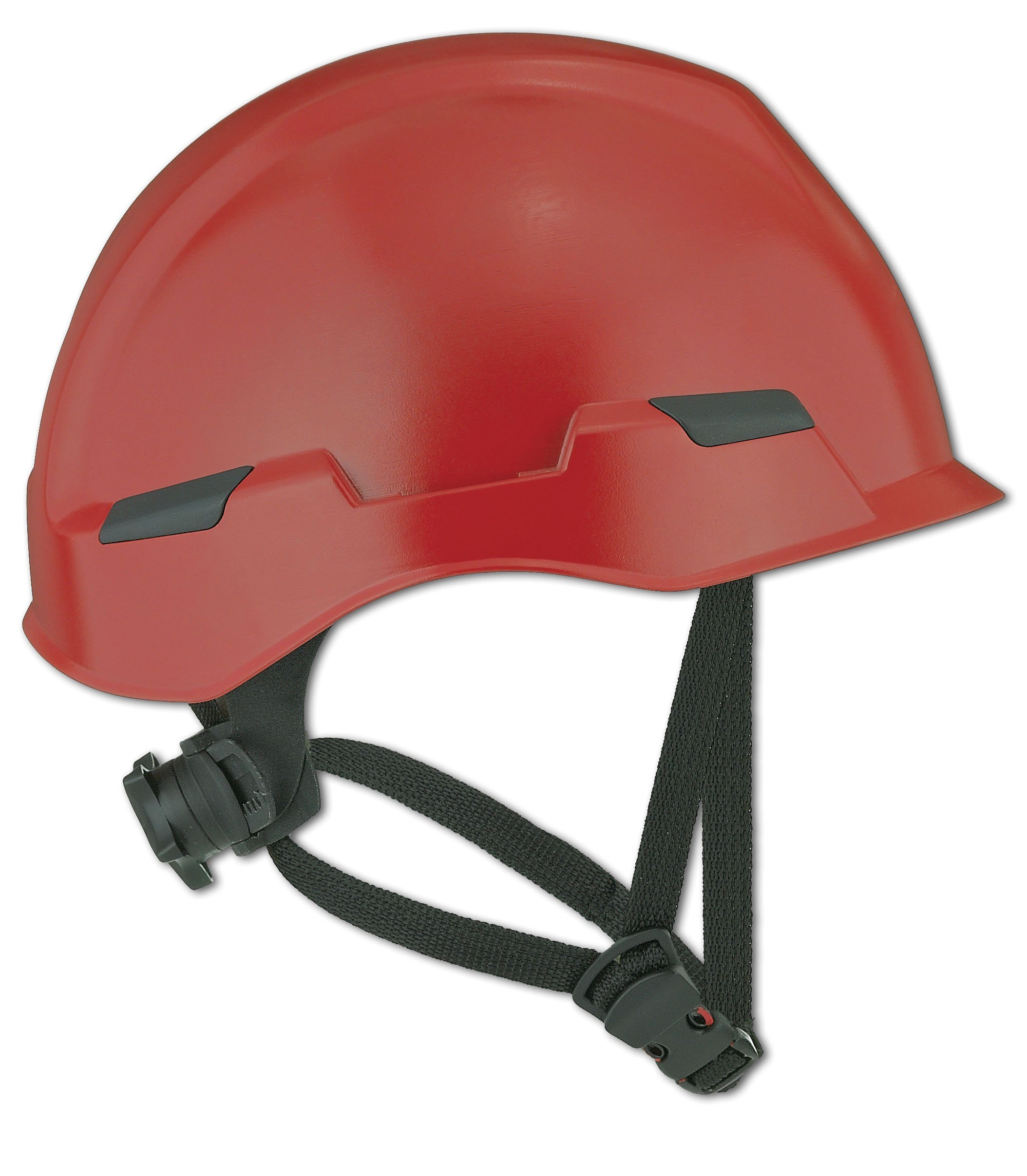 Dynamic Safety HP142R/15 Rocky Hard Hat with Nylon Suspension and Sure-Lock II Ratchet, Permanently Attached 4 Points Chin-Strap Adjustment, ANSI Type II, One Size, Red