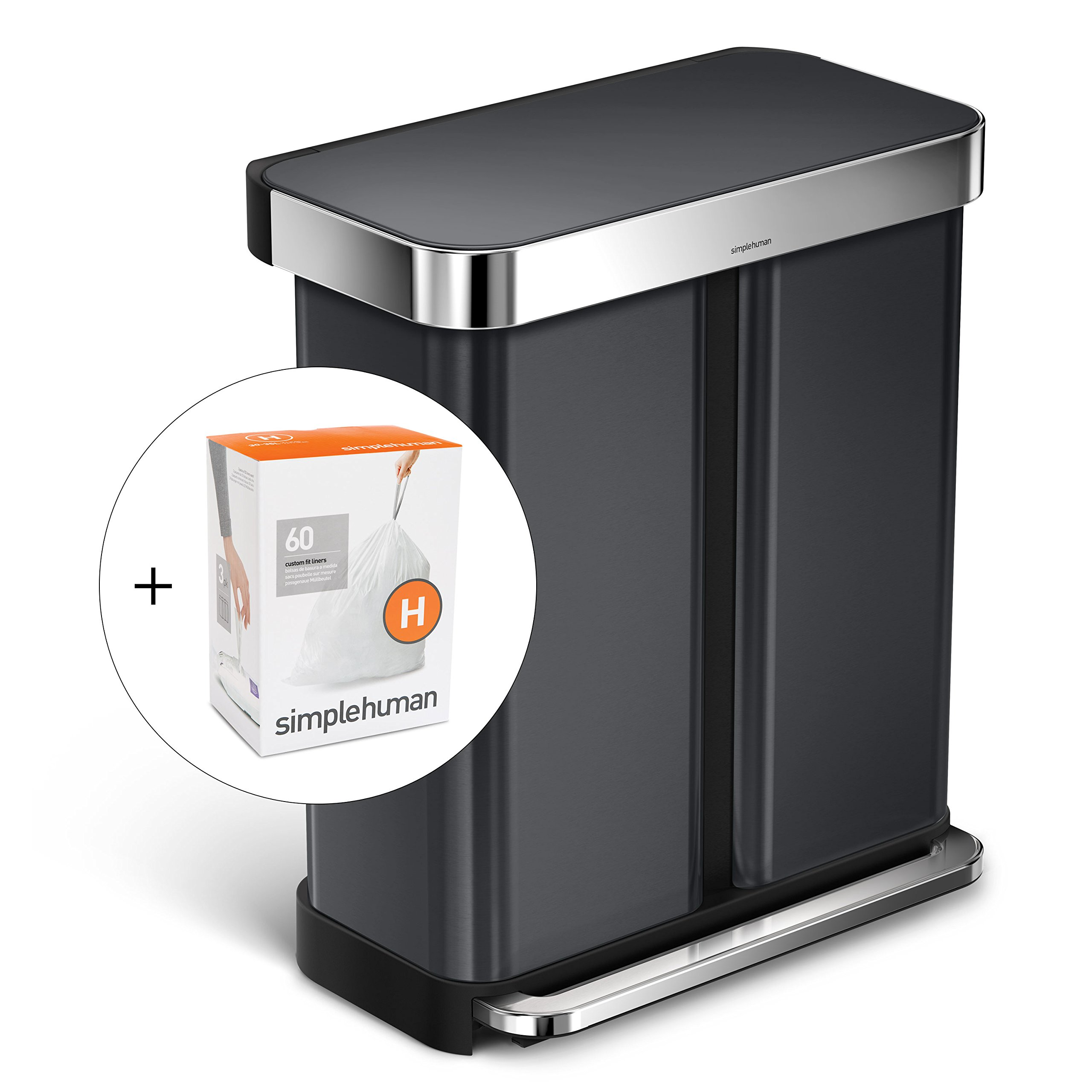 simplehuman 58L Dual Bucket Rectangular Recycling Step Trash Can with Liner Pocket, Black Stainless Steel, with 60 pack custom fit liner code H