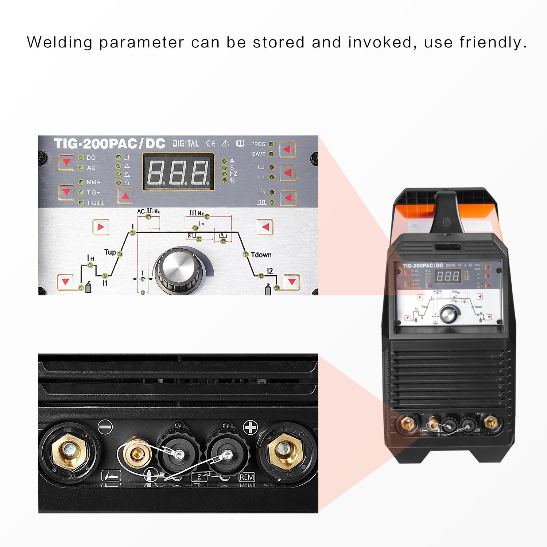 TIG Welding Machine Portable 200 amp High Frequency 220V TIG MMA 200 with TIG Stick IGBT Inverter Welder HITBOX