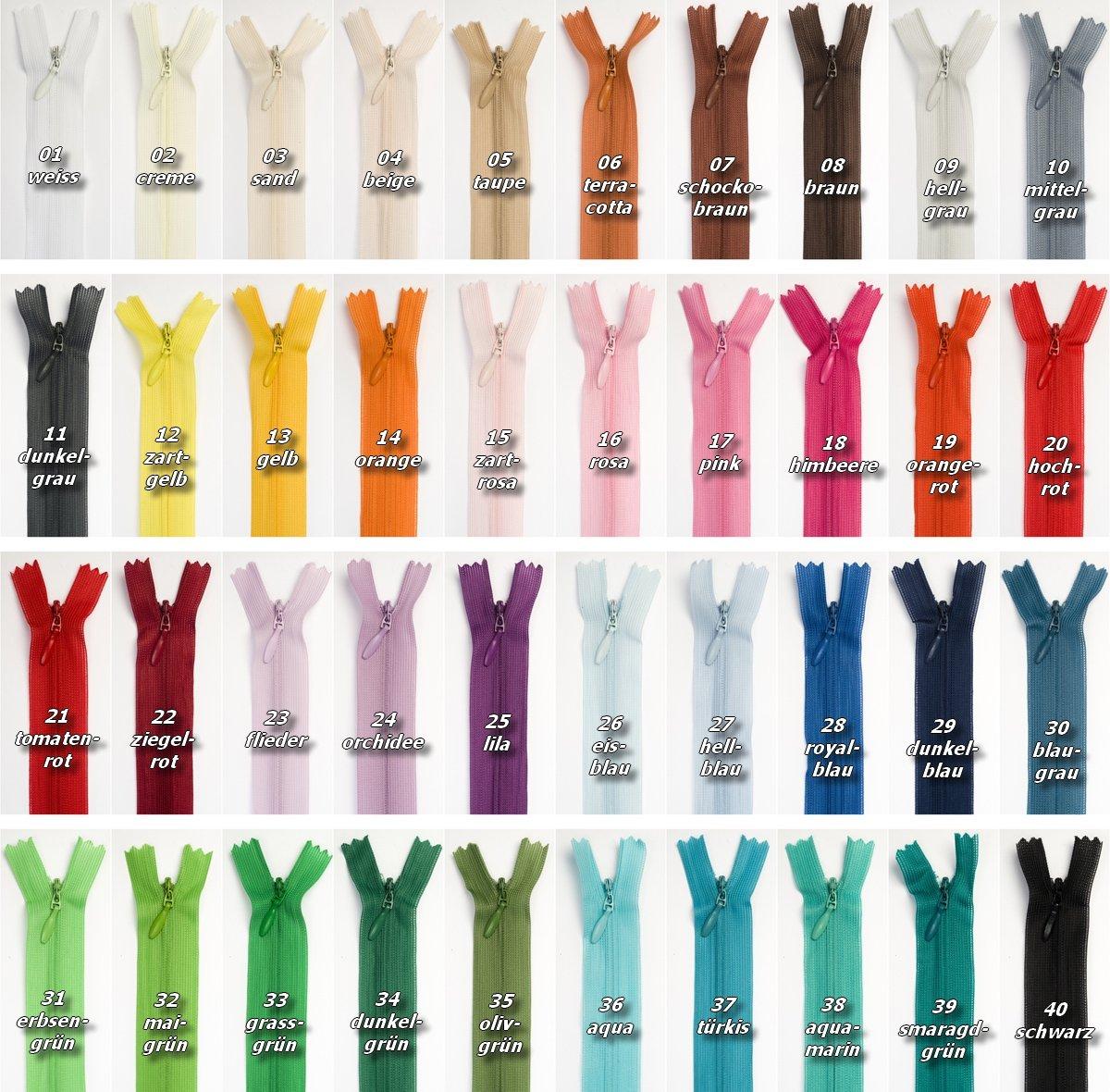 Jajasio 3 Reiß verschlü sse nahtverdeckt, nicht teilbar, 40cm lang, Nahtverdeckter Reiß verschluss in 40 Farben/Farbe: 3x01 - weiss