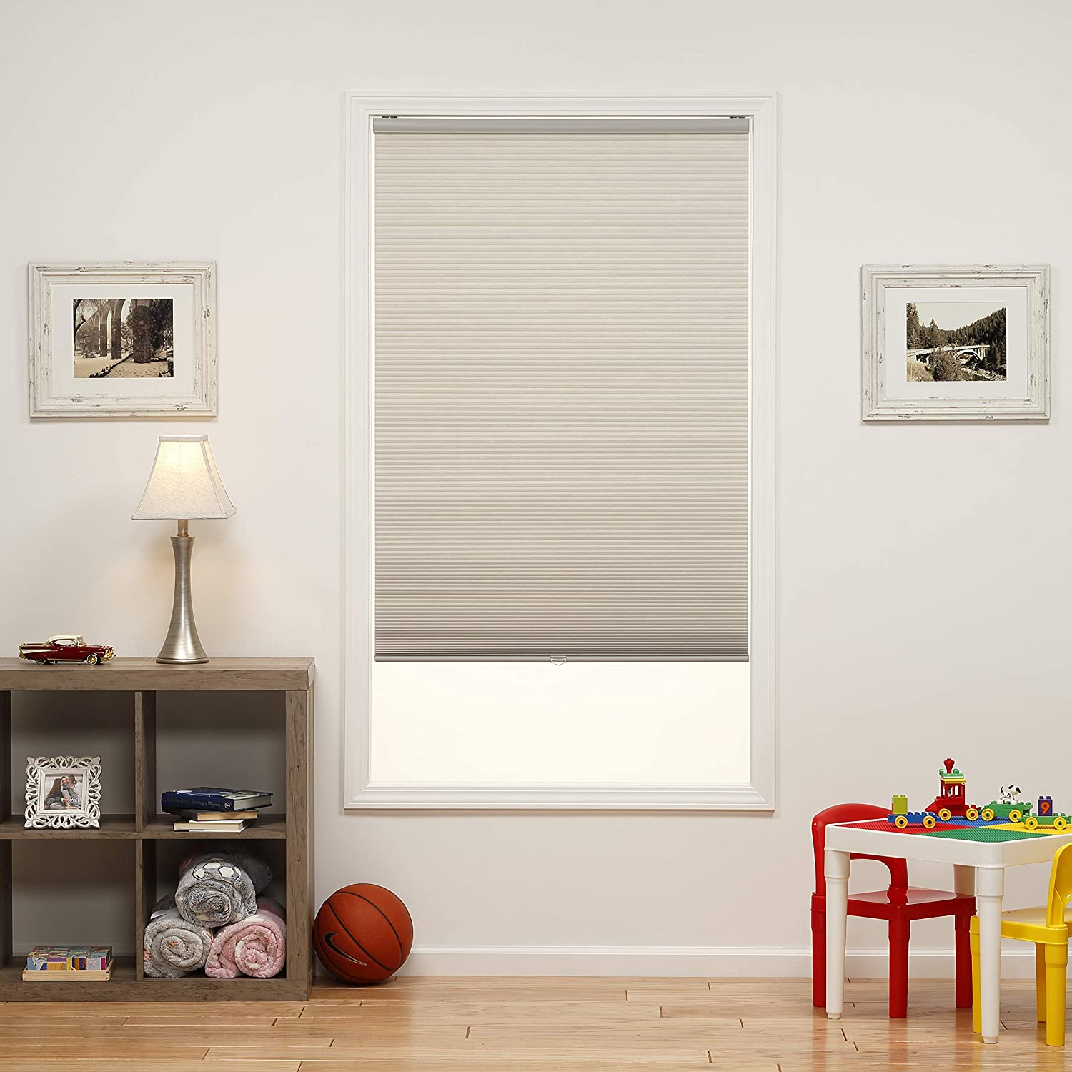 Gray Cloud DEZ Furnishings QCLG454640 Cordless Light Filtering Cellular Shade 45.5W x 64H Inches