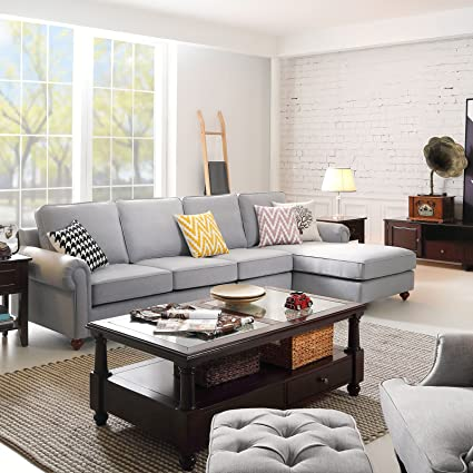 Morden Sectional Corner Sofa Indoor Fabric Sofa Lounge Sofa Bed Gray Living  Room Furniture Home Decor
