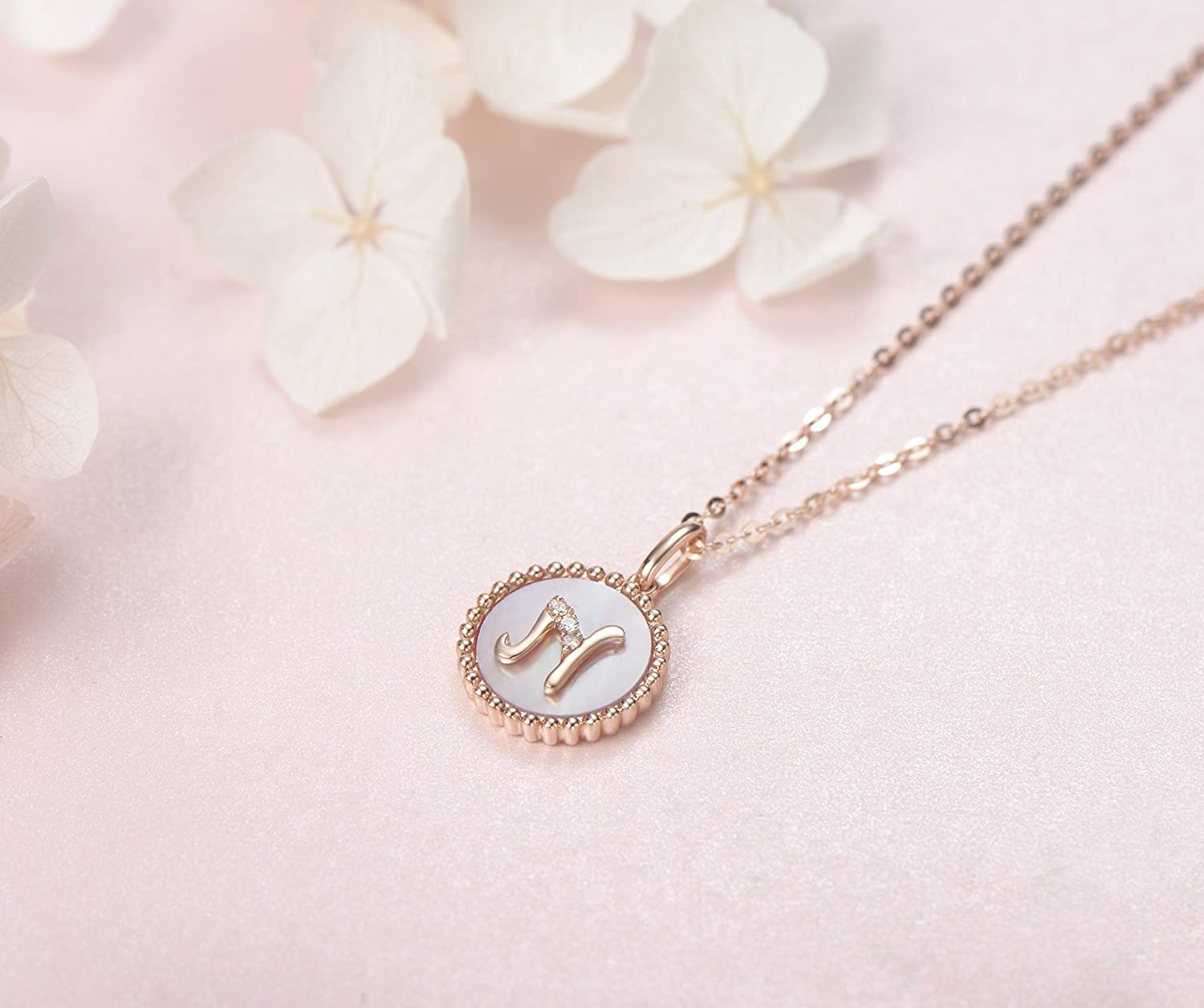 Carleen Alphabet Coin Pendant Neckace with Mother of Pearl Round Diamond for Women Girls 6982 Solid 14K Rose Gold Initial Dainty Pendant Necklace 18 Solid 14K Rose Gold Chain 18 Solid 14K Rose Gold Chain K